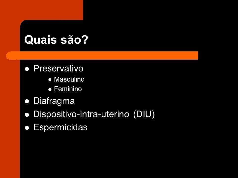 Quais são? Preservativo Masculino Feminino Diafragma Dispositivo-intra-uterino (DIU) Espermicidas