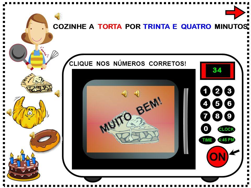 ON 789 456 123 0 5:00PM CLOCK TIME AQUEÇA O CHÁ POR VINTE E UM SEGUNDOS. CLIQUE NOS NÚMEROS CORRETOS! 1 2