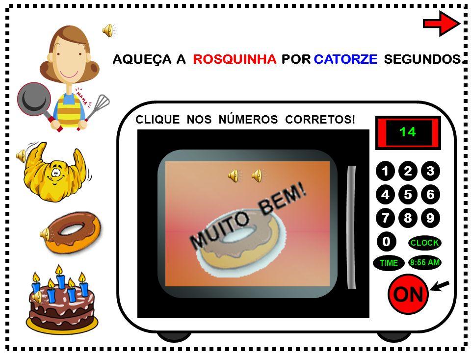 ON 789 456 123 0 4:45 PM CLOCK TIME COZINHE A TORTA POR TRINTA E QUATRO MINUTOS. CLIQUE NOS NÚMEROS CORRETOS! 4 3