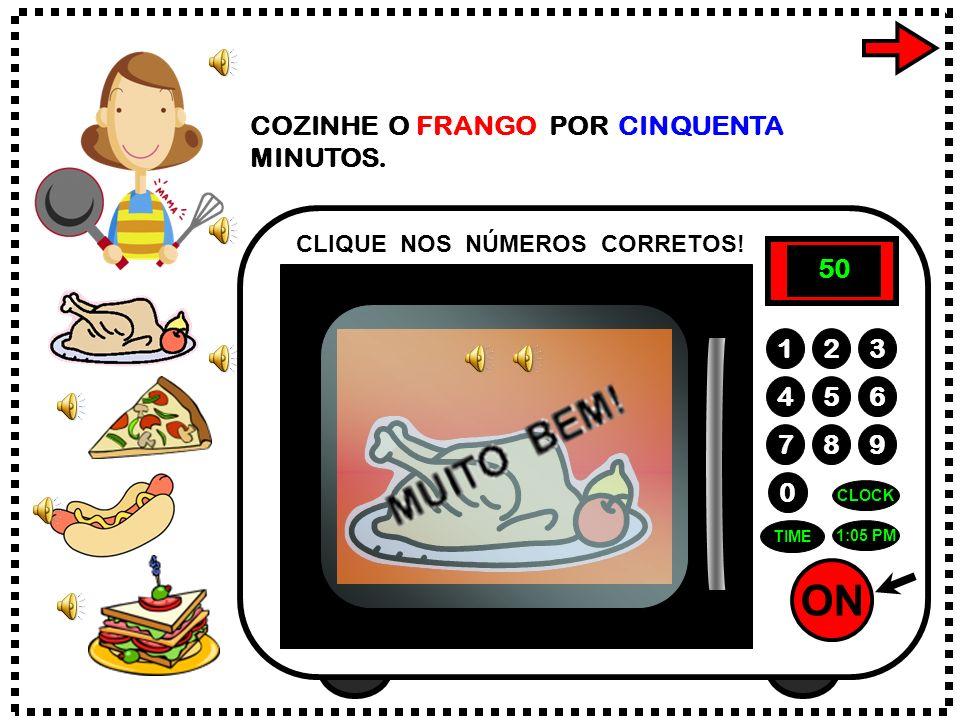 ON 789 456 123 0 1:05 PM CLOCK TIME 5 0 COZINHE O FRANGO POR CINQUENTA MINUTOS.