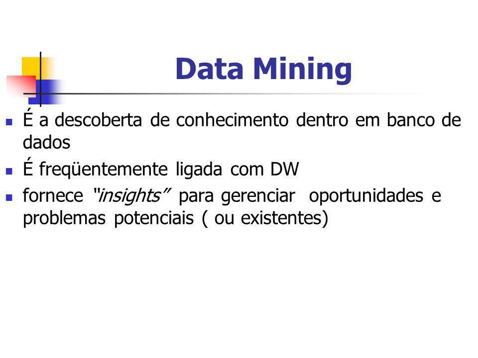 Data Mining É a descoberta de conhecimento dentro em banco de dados É freqüentemente ligada com DW fornece insights para gerenciar oportunidades e pro