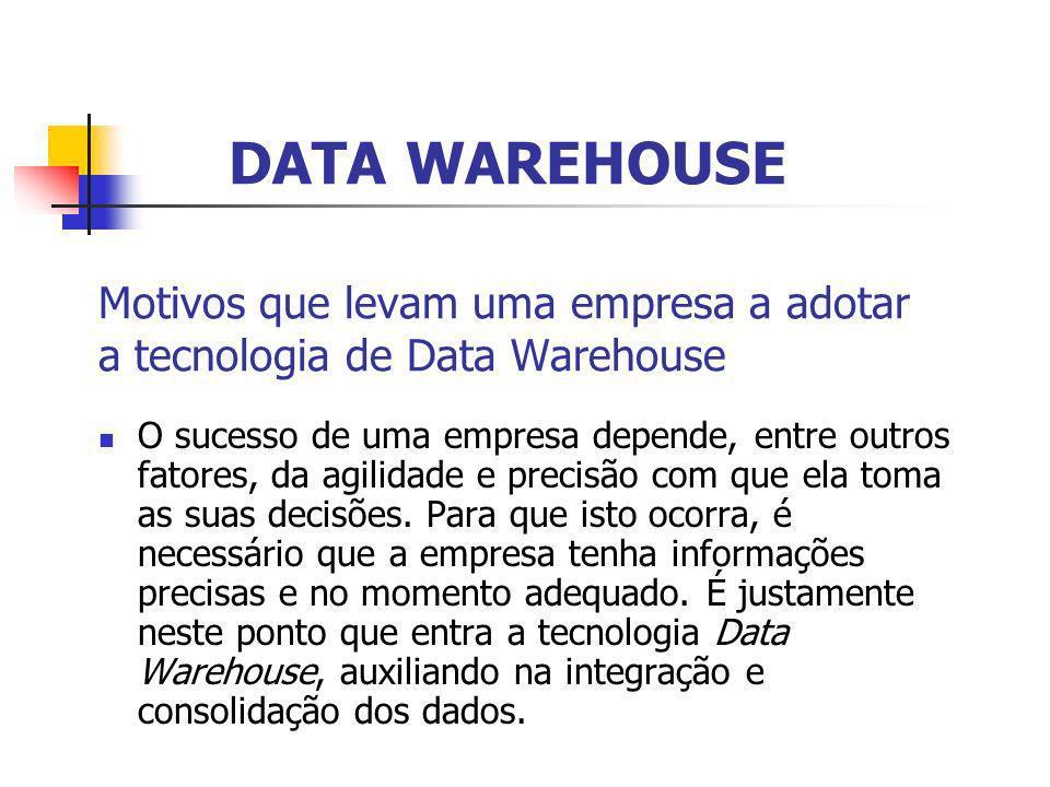 Motivos que levam uma empresa a adotar a tecnologia de Data Warehouse O sucesso de uma empresa depende, entre outros fatores, da agilidade e precisão