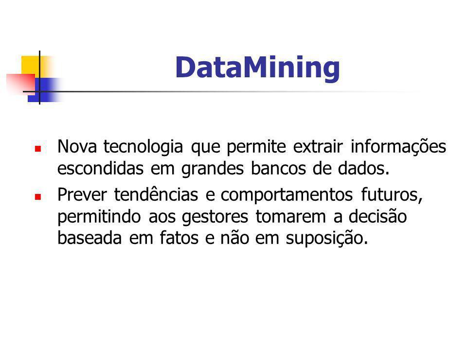 DataMining Nova tecnologia que permite extrair informações escondidas em grandes bancos de dados. Prever tendências e comportamentos futuros, permitin