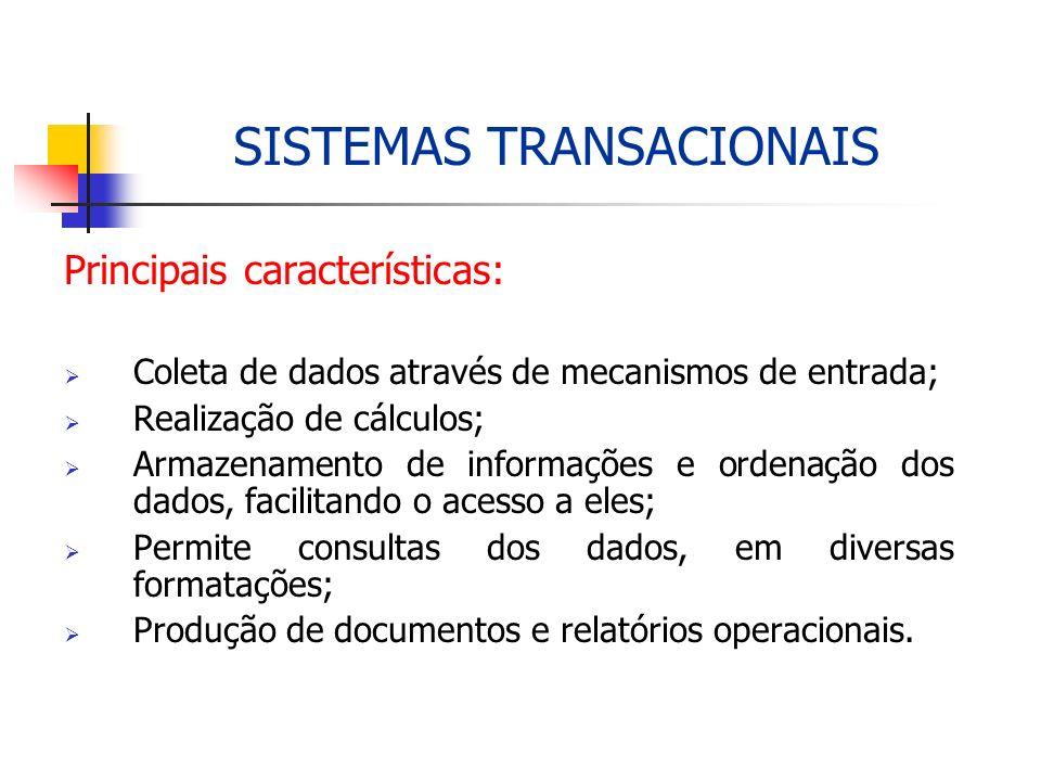 Principais características: Coleta de dados através de mecanismos de entrada; Realização de cálculos; Armazenamento de informações e ordenação dos dad
