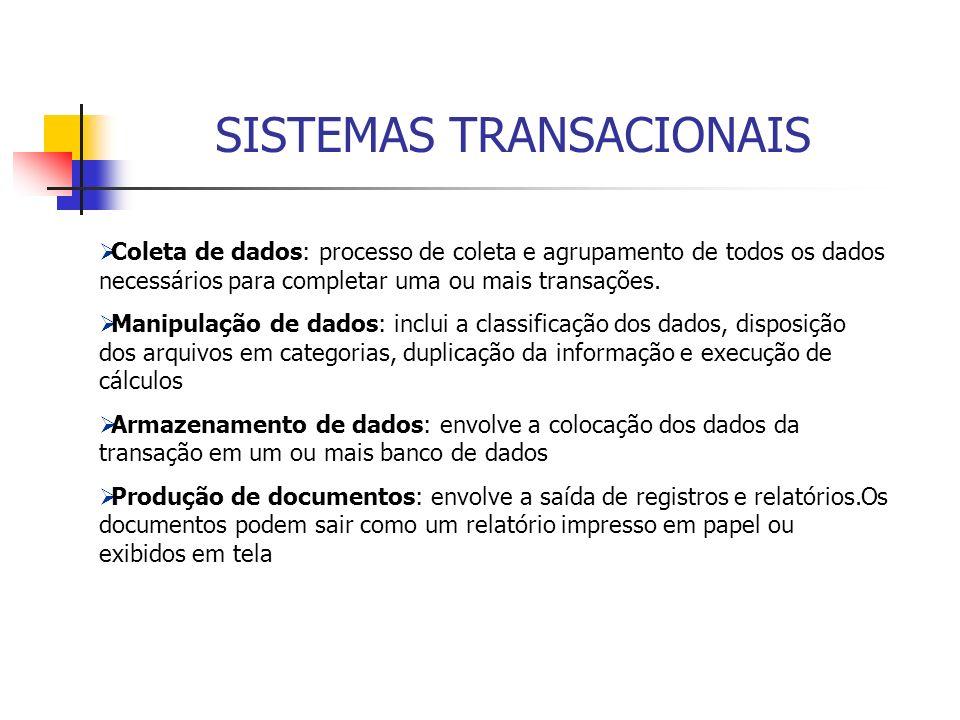 Coleta de dados: processo de coleta e agrupamento de todos os dados necessários para completar uma ou mais transações. Manipulação de dados: inclui a