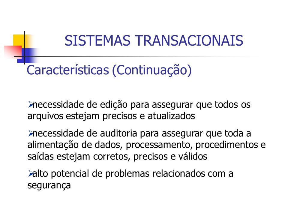 Características (Continuação) necessidade de edição para assegurar que todos os arquivos estejam precisos e atualizados necessidade de auditoria para