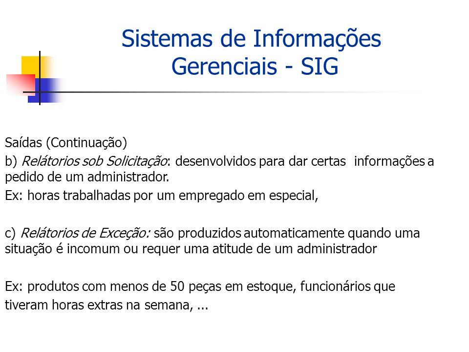 Sistemas de Informações Gerenciais - SIG Saídas (Continuação) b) Relátorios sob Solicitação: desenvolvidos para dar certas informações a pedido de um