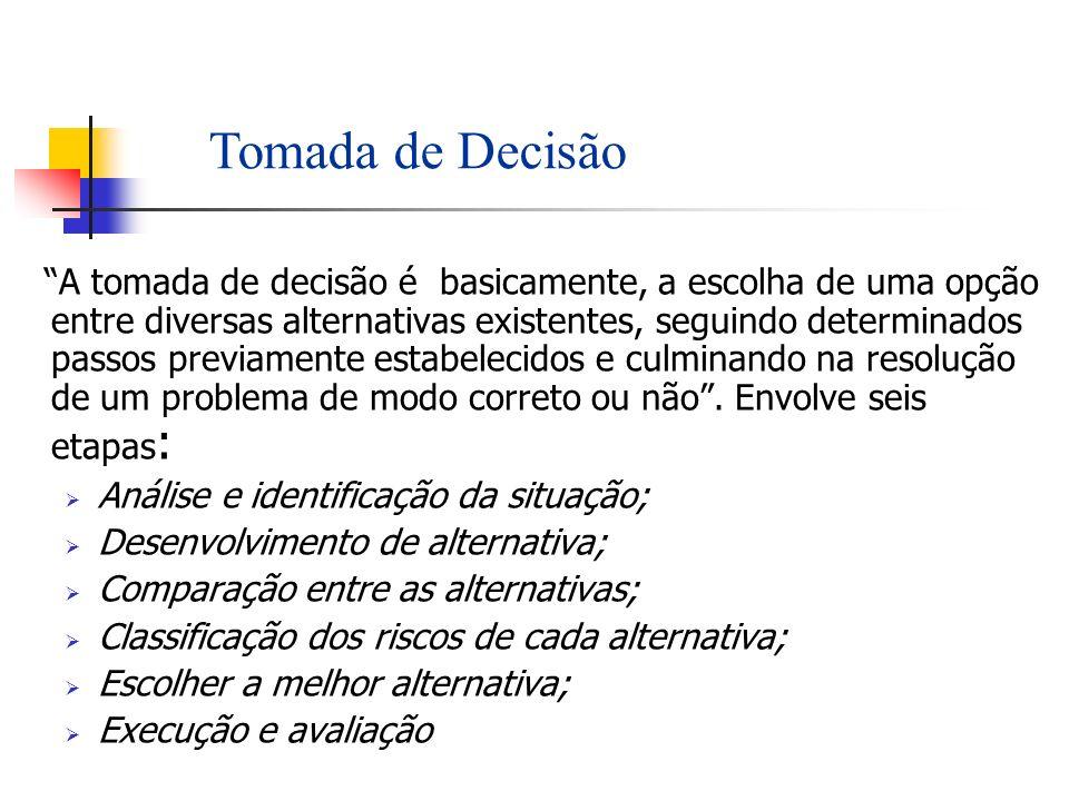 A tomada de decisão é basicamente, a escolha de uma opção entre diversas alternativas existentes, seguindo determinados passos previamente estabelecid