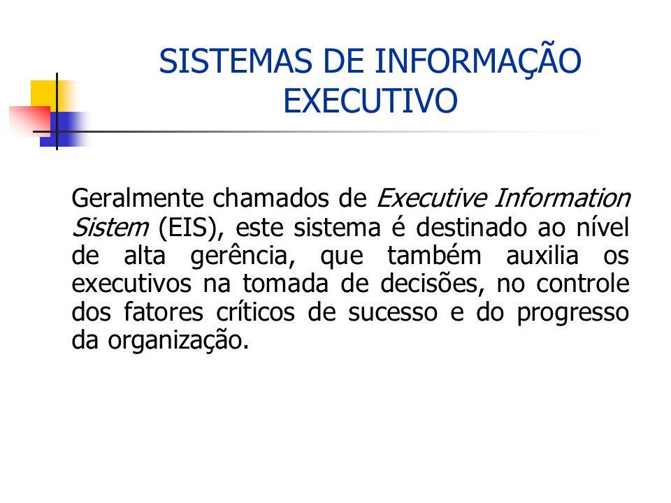 SISTEMAS DE INFORMAÇÃO EXECUTIVO Geralmente chamados de Executive Information Sistem (EIS), este sistema é destinado ao nível de alta gerência, que ta