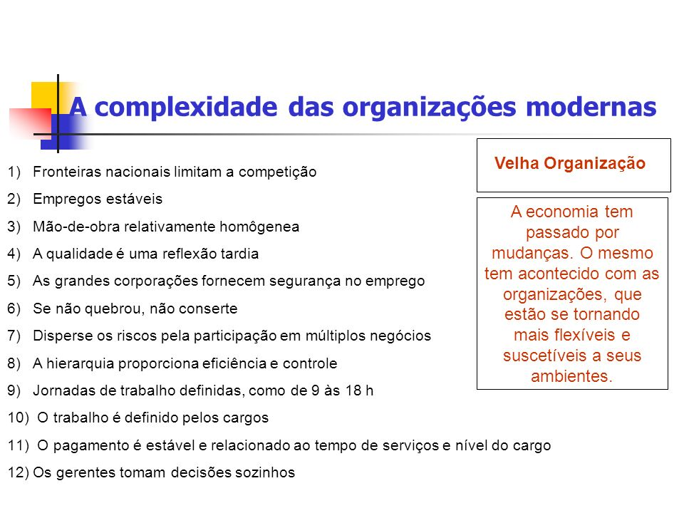 A complexidade das organizações modernas A economia tem passado por mudanças. O mesmo tem acontecido com as organizações, que estão se tornando mais f