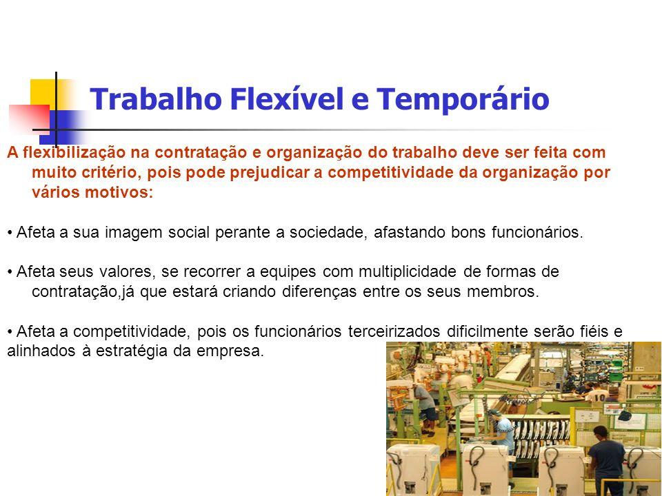 Trabalho Flexível e Temporário A flexibilização na contratação e organização do trabalho deve ser feita com muito critério, pois pode prejudicar a com