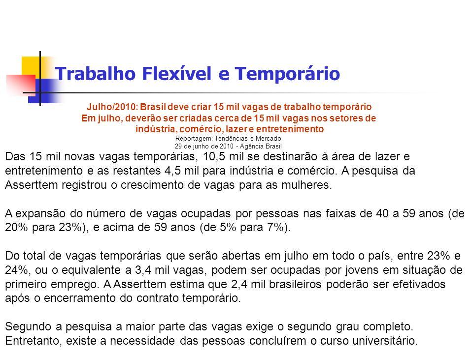 Trabalho Flexível e Temporário Julho/2010: Brasil deve criar 15 mil vagas de trabalho temporário Em julho, deverão ser criadas cerca de 15 mil vagas n