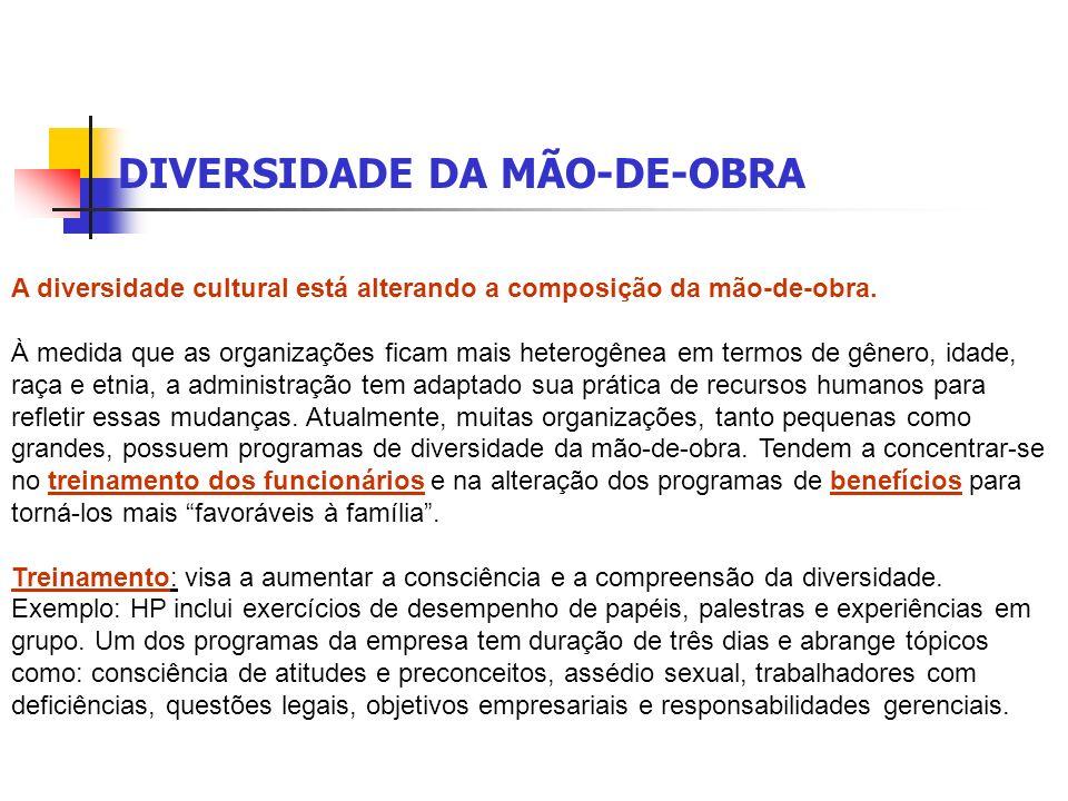 DIVERSIDADE DA MÃO-DE-OBRA A diversidade cultural está alterando a composição da mão-de-obra.