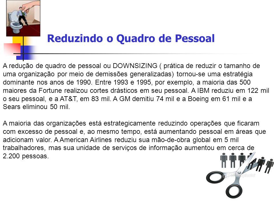 Reduzindo o Quadro de Pessoal A redução de quadro de pessoal ou DOWNSIZING ( prática de reduzir o tamanho de uma organização por meio de demissões gen