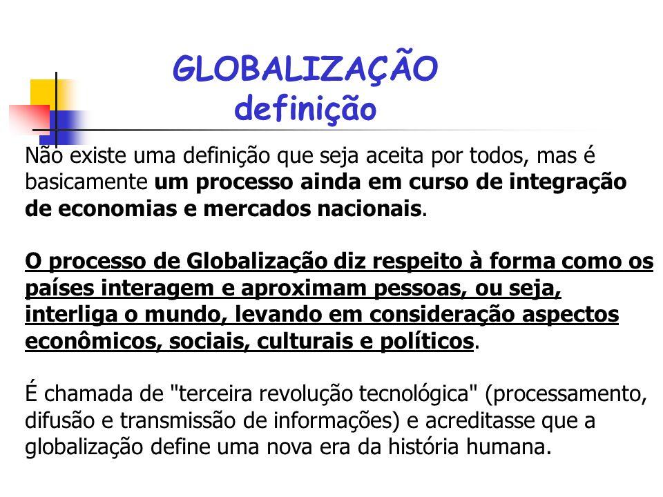 GLOBALIZAÇÃO definição Não existe uma definição que seja aceita por todos, mas é basicamente um processo ainda em curso de integração de economias e m