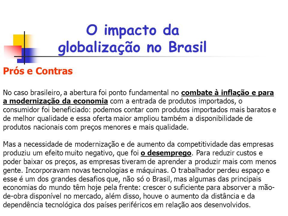 O impacto da globalização no Brasil Prós e Contras No caso brasileiro, a abertura foi ponto fundamental no combate à inflação e para a modernização da