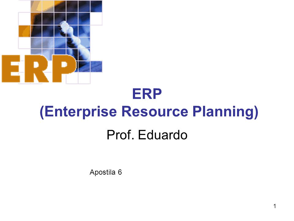1 ERP (Enterprise Resource Planning) Prof. Eduardo Apostila 6