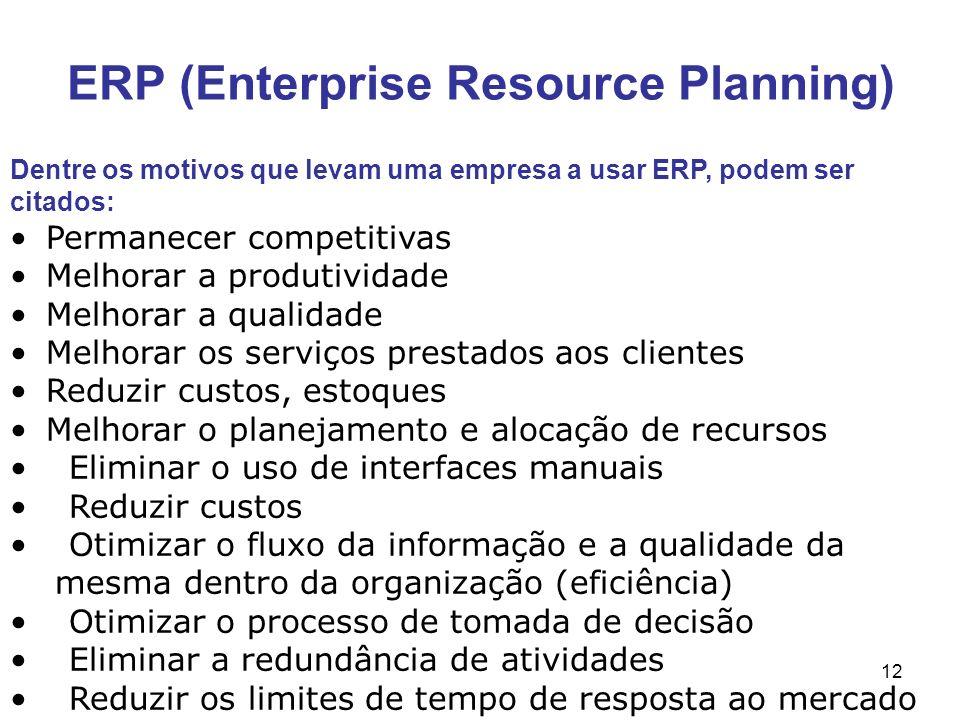 12 ERP (Enterprise Resource Planning) Dentre os motivos que levam uma empresa a usar ERP, podem ser citados: Permanecer competitivas Melhorar a produt