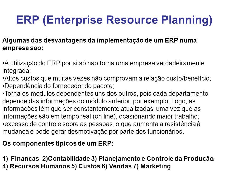 13 ERP (Enterprise Resource Planning) Os componentes típicos de um ERP: 1)Finanças 2)Contabilidade 3) Planejamento e Controle da Produção 4) Recursos