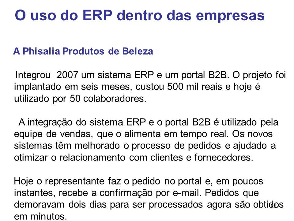 15 O uso do ERP dentro das empresas A Phisalia Produtos de Beleza Integrou 2007 um sistema ERP e um portal B2B. O projeto foi implantado em seis meses