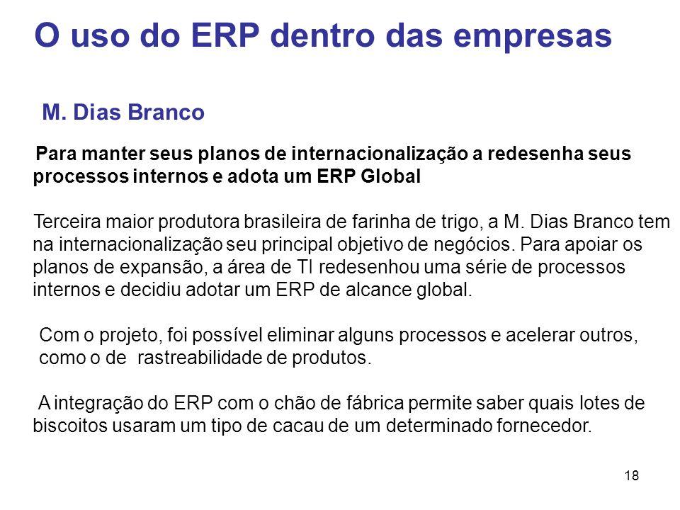 18 O uso do ERP dentro das empresas Para manter seus planos de internacionalização a redesenha seus processos internos e adota um ERP Global Terceira