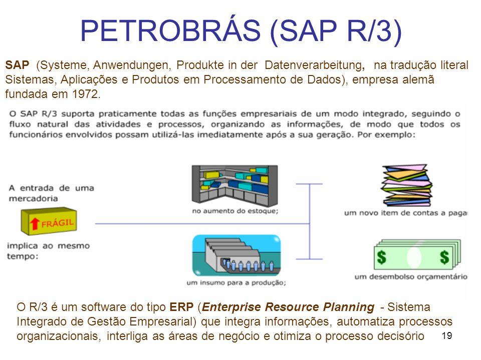 19 PETROBRÁS (SAP R/3) O R/3 é um software do tipo ERP (Enterprise Resource Planning - Sistema Integrado de Gestão Empresarial) que integra informaçõe