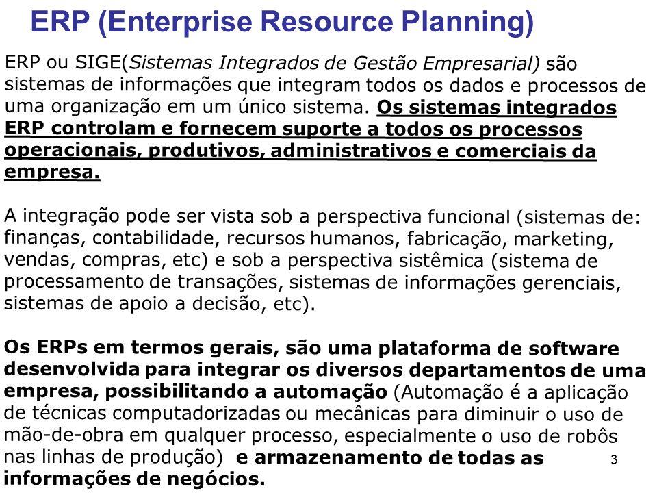 3 ERP ou SIGE(Sistemas Integrados de Gestão Empresarial) são sistemas de informações que integram todos os dados e processos de uma organização em um