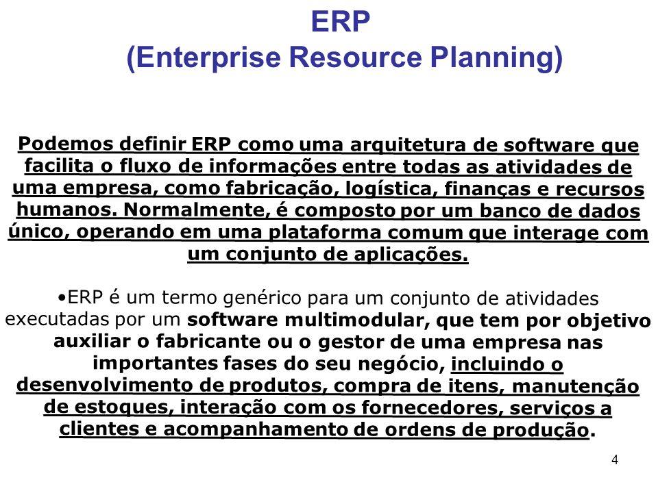 4 Podemos definir ERP como uma arquitetura de software que facilita o fluxo de informações entre todas as atividades de uma empresa, como fabricação,