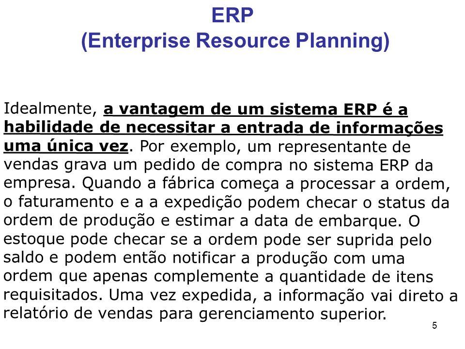 5 Idealmente, a vantagem de um sistema ERP é a habilidade de necessitar a entrada de informações uma única vez. Por exemplo, um representante de venda