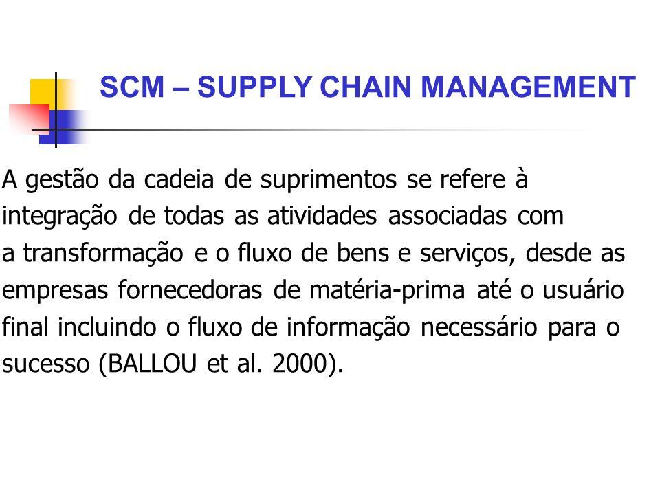 A gestão da cadeia de suprimentos se refere à integração de todas as atividades associadas com a transformação e o fluxo de bens e serviços, desde as