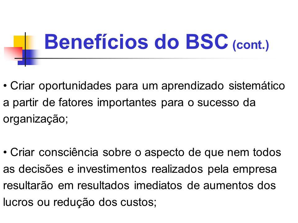 Benefícios do BSC (cont.) Criar oportunidades para um aprendizado sistemático a partir de fatores importantes para o sucesso da organização; Criar con