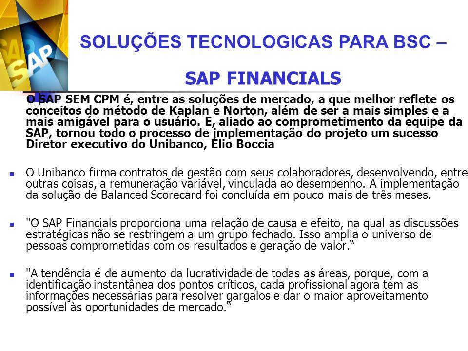 O SAP SEM CPM é, entre as soluções de mercado, a que melhor reflete os conceitos do método de Kaplan e Norton, além de ser a mais simples e a mais ami