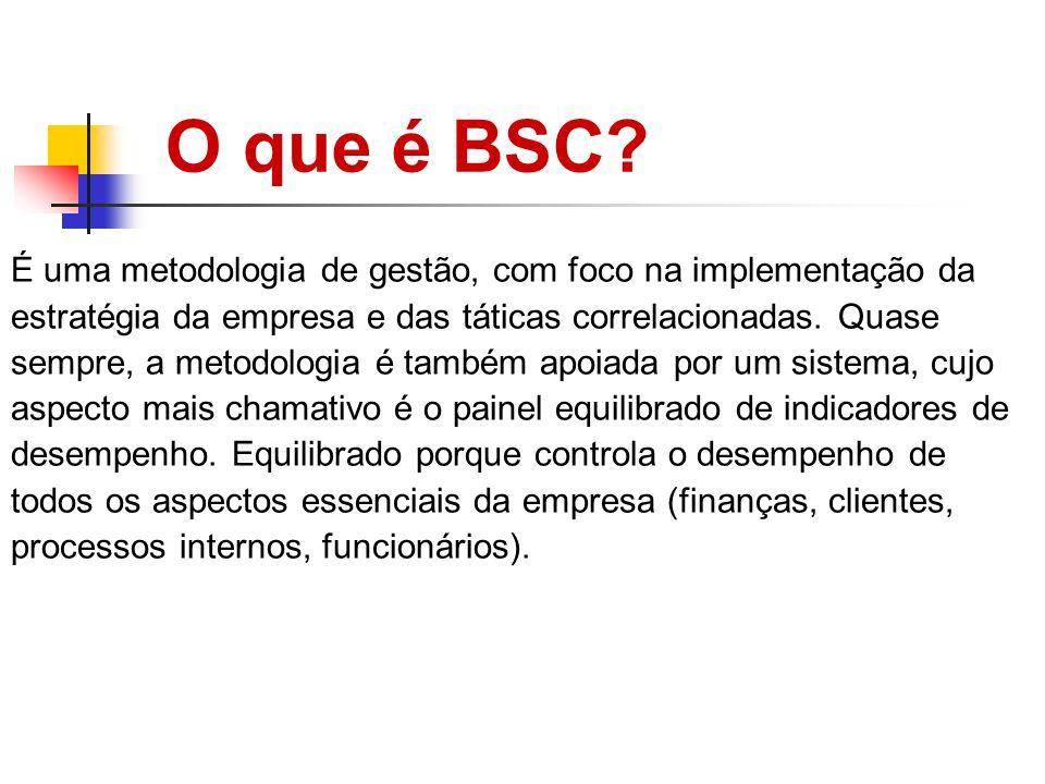 O que é BSC? É uma metodologia de gestão, com foco na implementação da estratégia da empresa e das táticas correlacionadas. Quase sempre, a metodologi