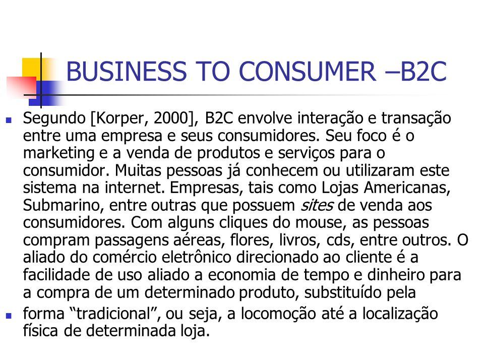 BUSINESS TO CONSUMER –B2C Segundo [Korper, 2000], B2C envolve interação e transação entre uma empresa e seus consumidores. Seu foco é o marketing e a