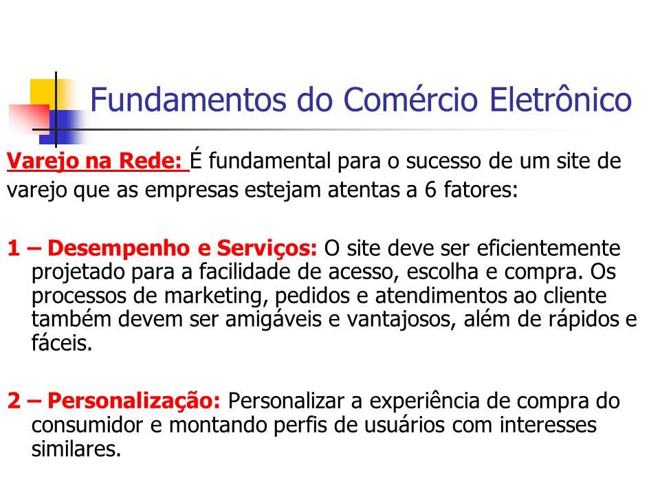 Fundamentos do Comércio Eletrônico Varejo na Rede: É fundamental para o sucesso de um site de varejo que as empresas estejam atentas a 6 fatores: 1 –