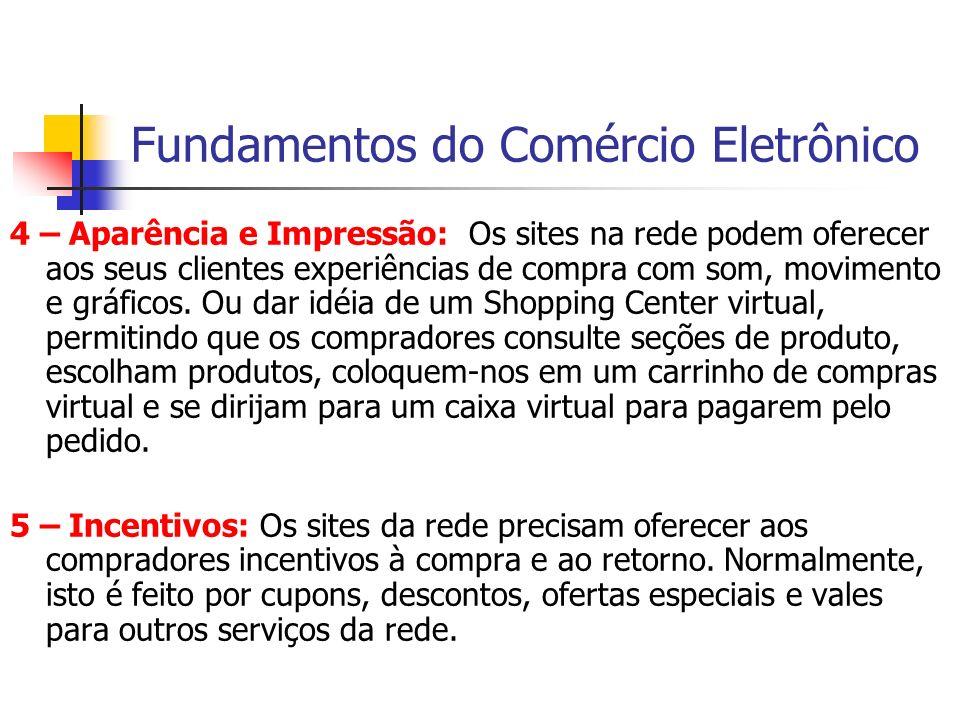 Fundamentos do Comércio Eletrônico 4 – Aparência e Impressão: Os sites na rede podem oferecer aos seus clientes experiências de compra com som, movime