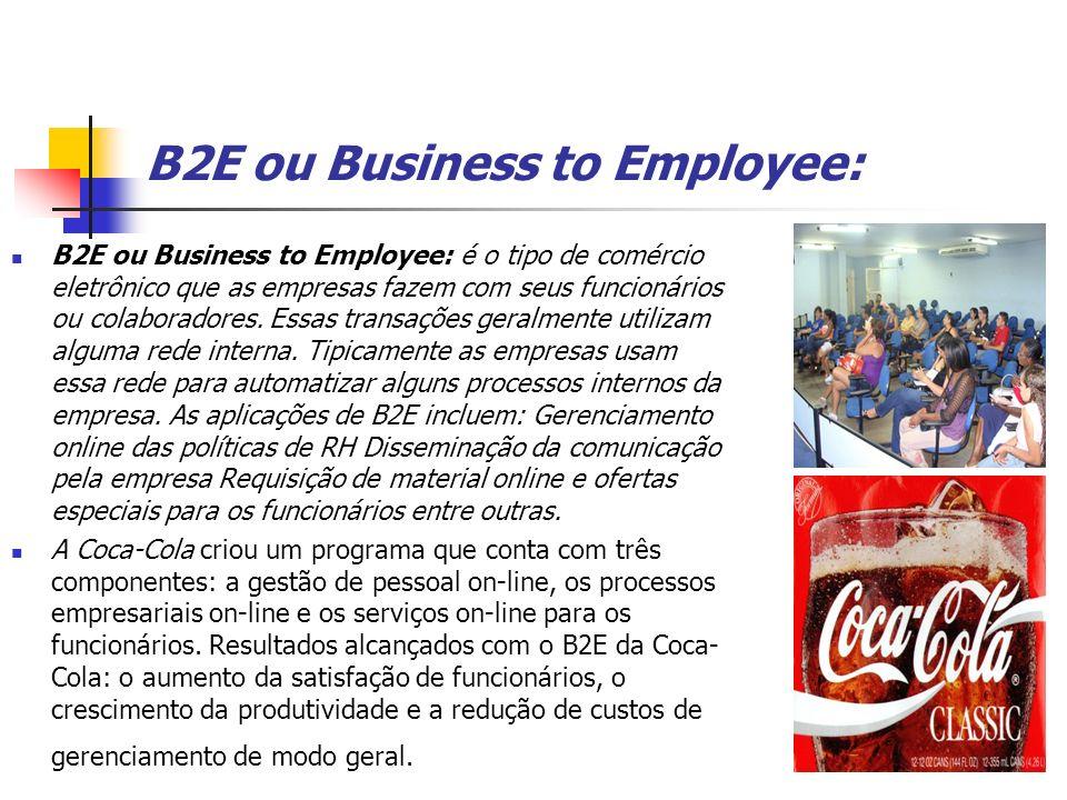B2E ou Business to Employee: B2E ou Business to Employee: é o tipo de comércio eletrônico que as empresas fazem com seus funcionários ou colaboradores