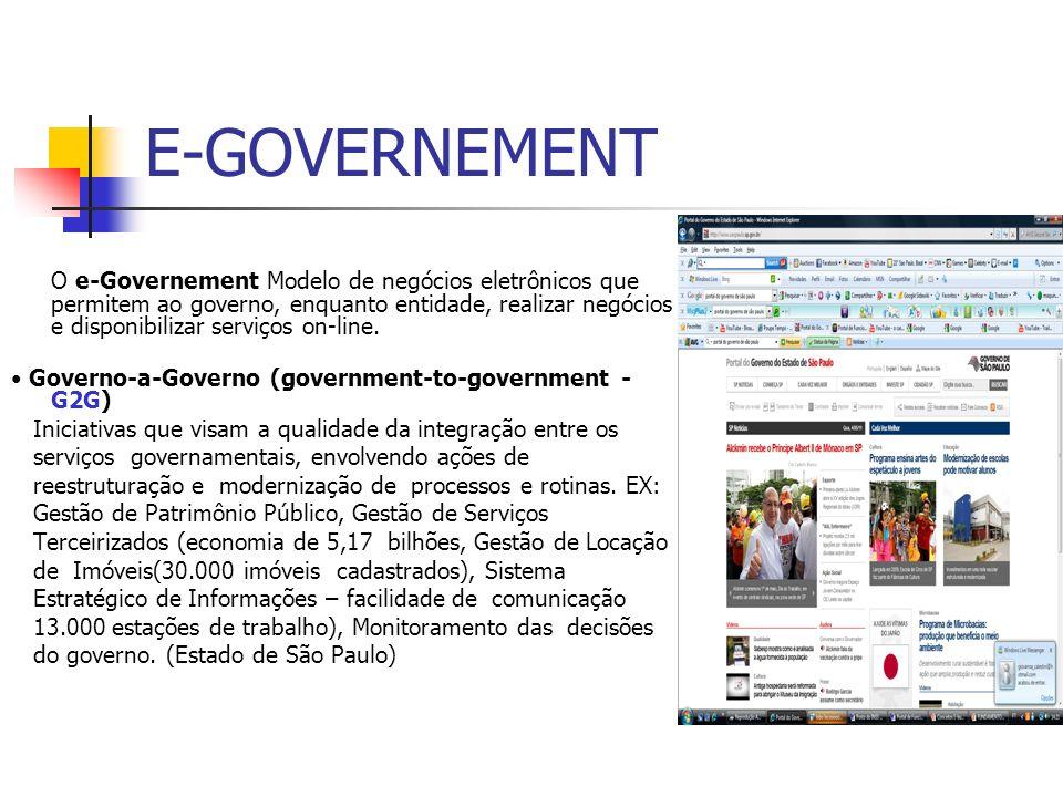 E-GOVERNEMENT O e-Governement Modelo de negócios eletrônicos que permitem ao governo, enquanto entidade, realizar negócios e disponibilizar serviços o