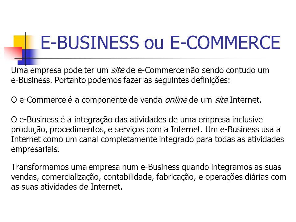 E-BUSINESS ou E-COMMERCE Uma empresa pode ter um site de e-Commerce não sendo contudo um e-Business. Portanto podemos fazer as seguintes definições: O