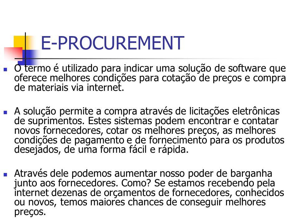 E-PROCUREMENT O termo é utilizado para indicar uma solução de software que oferece melhores condições para cotação de preços e compra de materiais via