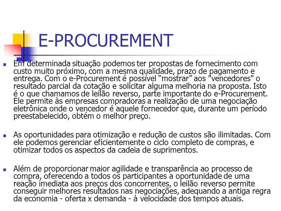 E-PROCUREMENT Em determinada situação podemos ter propostas de fornecimento com custo muito próximo, com a mesma qualidade, prazo de pagamento e entre