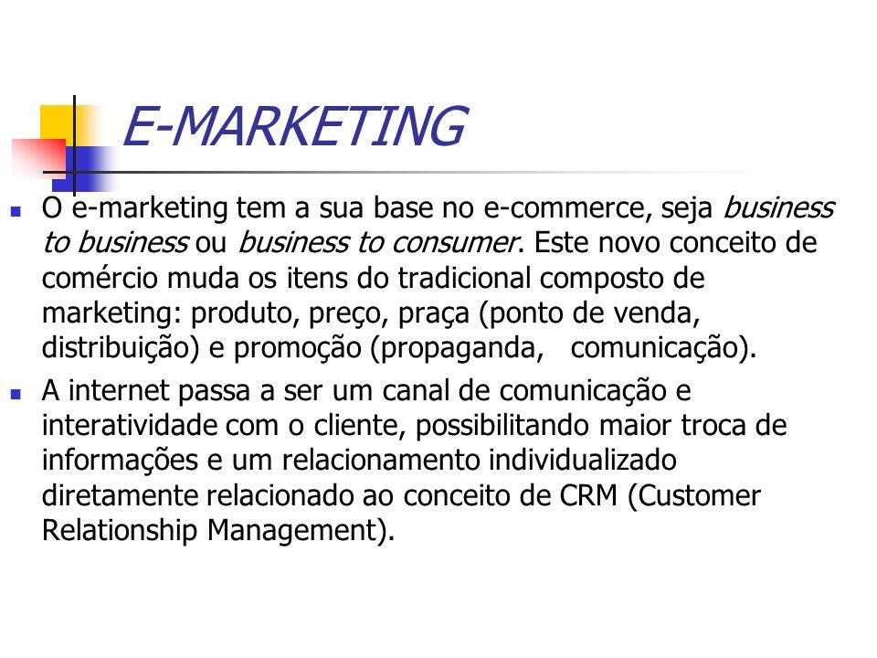 E-MARKETING O e-marketing tem a sua base no e-commerce, seja business to business ou business to consumer. Este novo conceito de comércio muda os iten