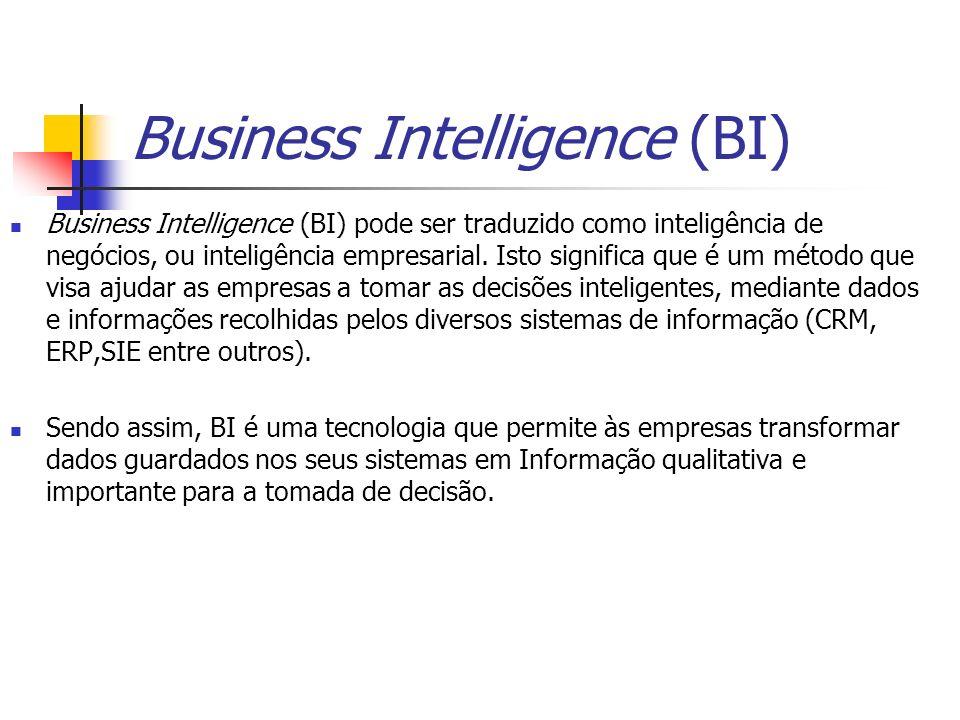 Business Intelligence (BI) Business Intelligence (BI) pode ser traduzido como inteligência de negócios, ou inteligência empresarial. Isto significa qu