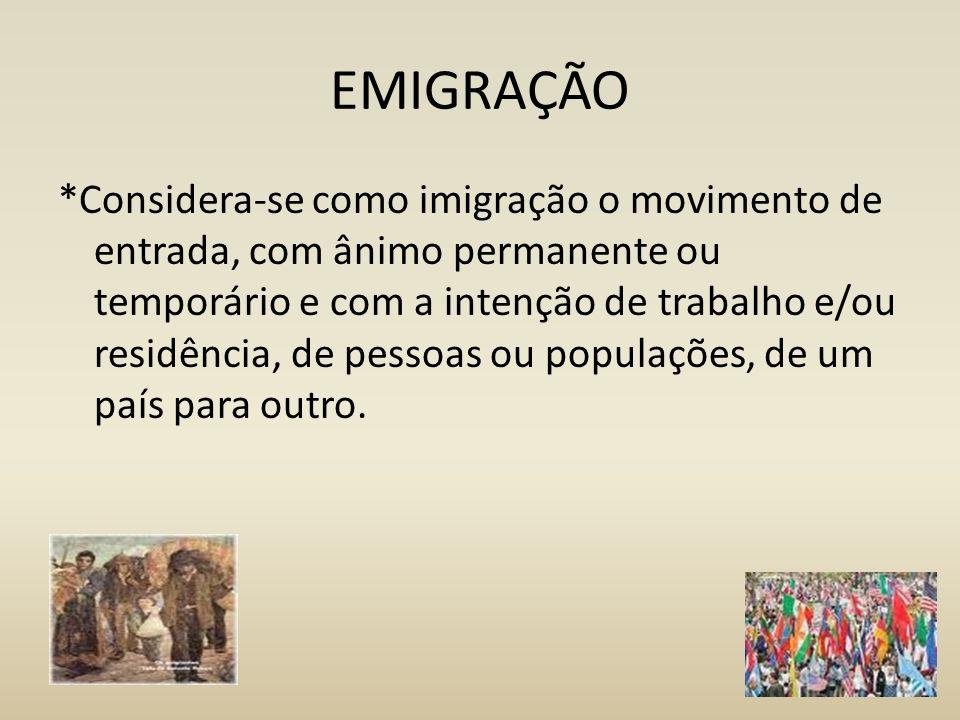 IMIGRAÇÃO *Considera-se como imigração o movimento de entrada, com ânimo permanente ou temporário e com a intenção de trabalho e/ou residência, de pessoas ou populações, de um país para outro.