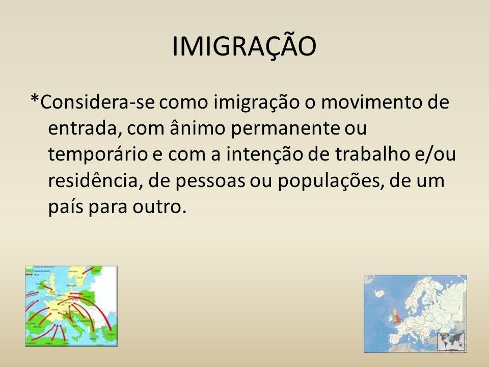 IMIGRAÇÃO *Considera-se como imigração o movimento de entrada, com ânimo permanente ou temporário e com a intenção de trabalho e/ou residência, de pes