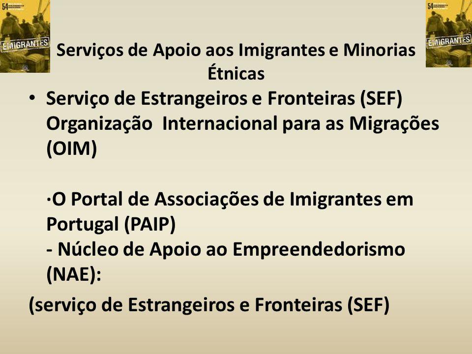 Serviços de Apoio aos Imigrantes e Minorias Étnicas Serviço de Estrangeiros e Fronteiras (SEF) Organização Internacional para as Migrações (OIM) ·O Po