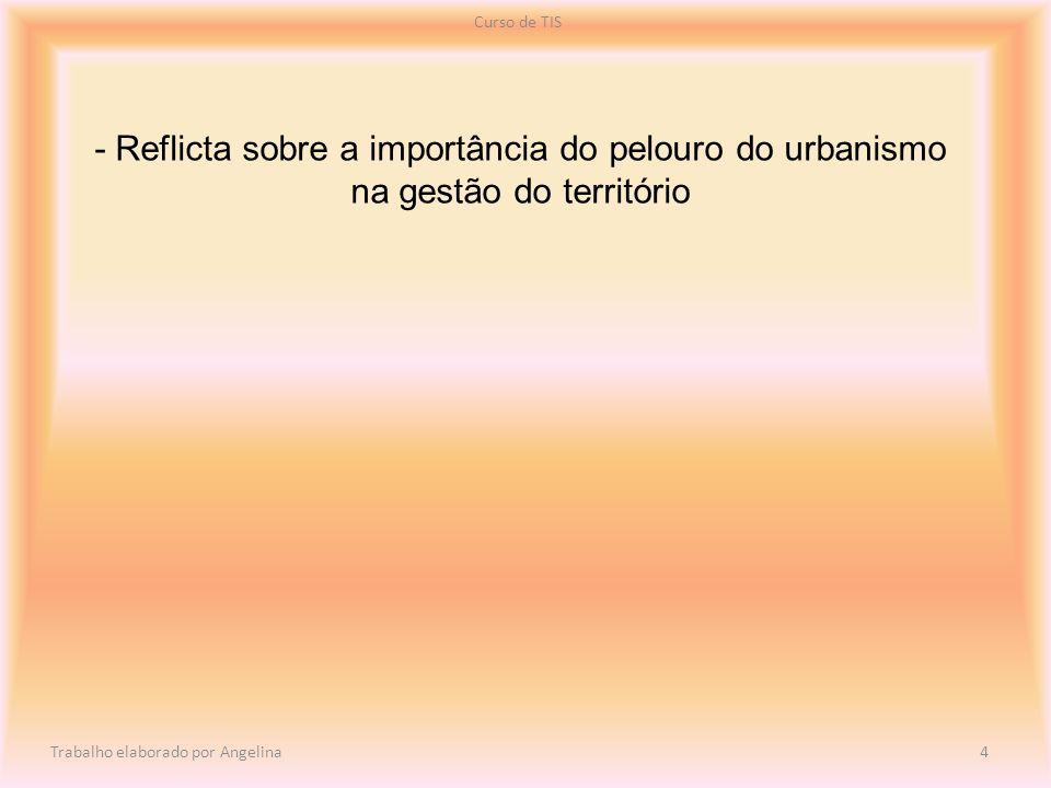 - Reflicta sobre a importância do pelouro do urbanismo na gestão do território Curso de TIS Trabalho elaborado por Angelina 4