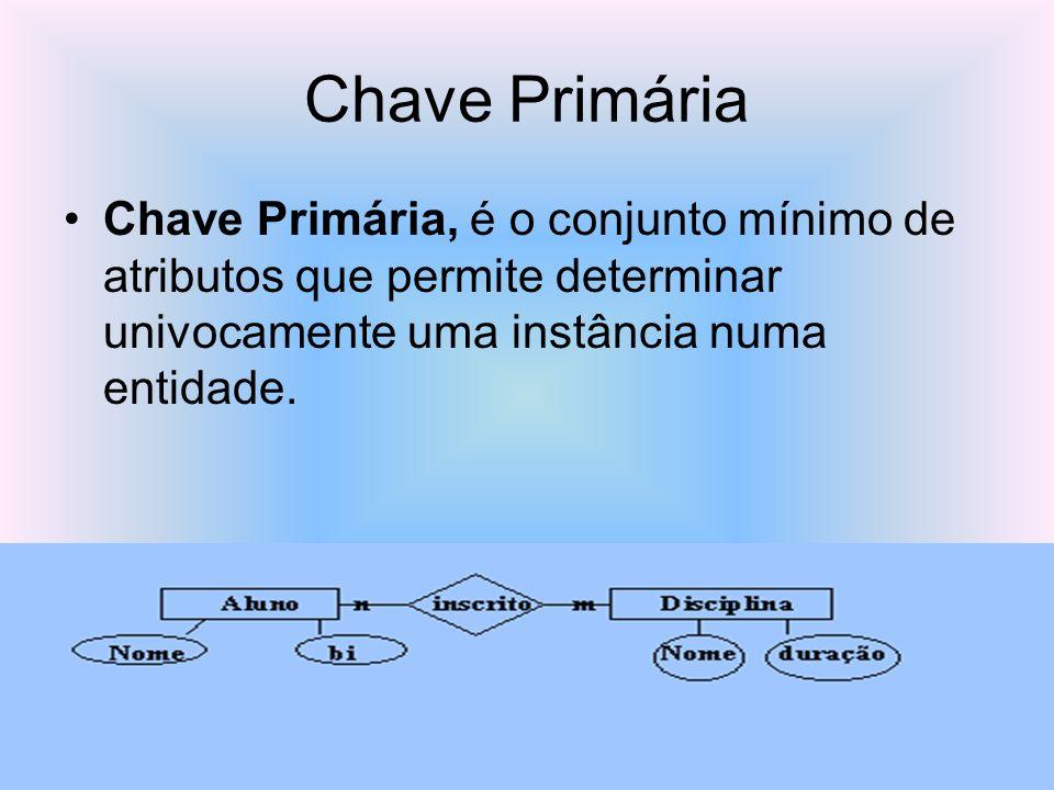 Chave Primária Chave Primária, é o conjunto mínimo de atributos que permite determinar univocamente uma instância numa entidade.