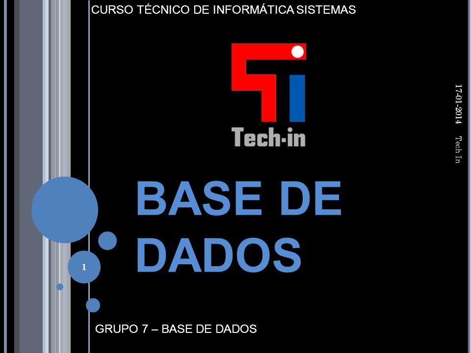 GRUPO 7 – BASE DE DADOS CURSO TÉCNICO DE INFORMÁTICA SISTEMAS BASE DE DADOS 17-01-2014 Tech In 1