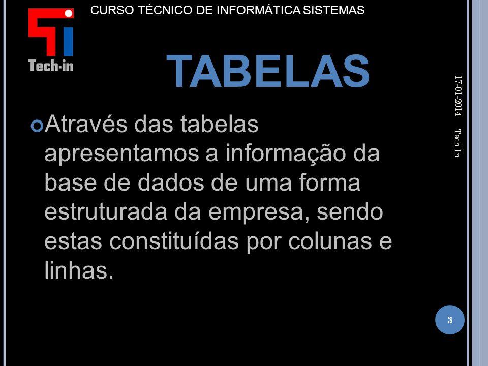 Através das tabelas apresentamos a informação da base de dados de uma forma estruturada da empresa, sendo estas constituídas por colunas e linhas.